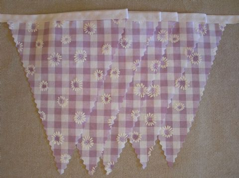 BUNTING Wedding - Lilac Gingham with Daisies - 3m/10ft or 5m/16ft